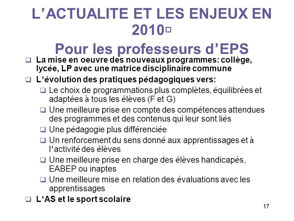 L'ACTUALITE ET LES ENJEUX EN 2010 Pour les professeurs d'EPS