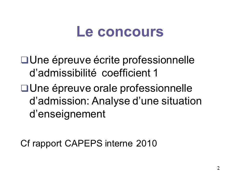 Le concours Une épreuve écrite professionnelle d'admissibilité coefficient 1.