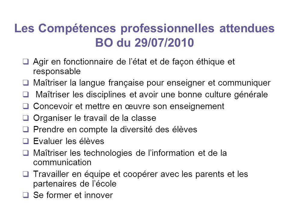 Les Compétences professionnelles attendues BO du 29/07/2010