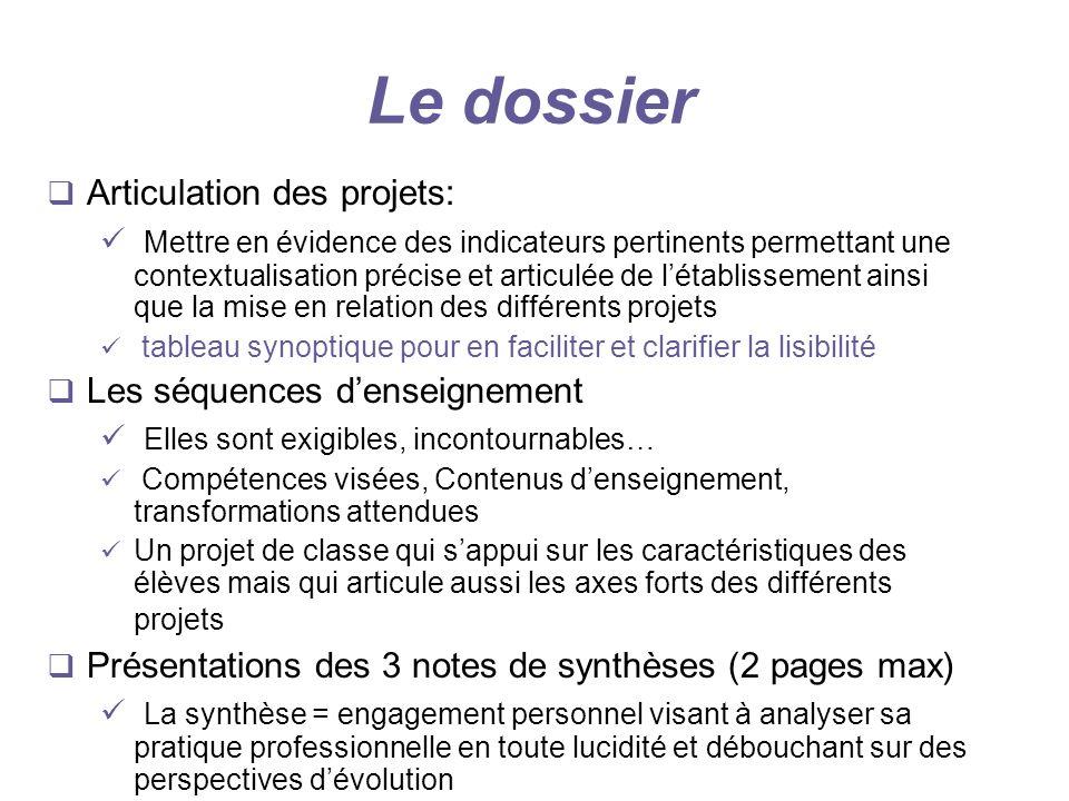 Le dossier Articulation des projets: