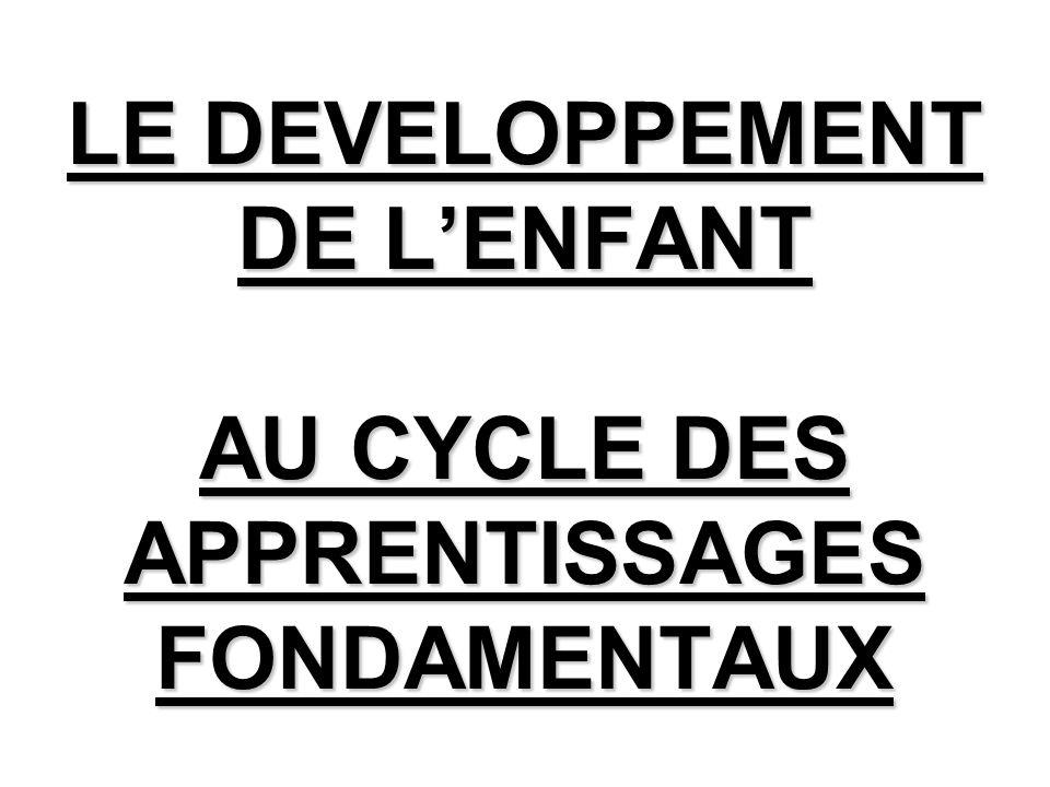 LE DEVELOPPEMENT DE L'ENFANT AU CYCLE DES APPRENTISSAGES FONDAMENTAUX
