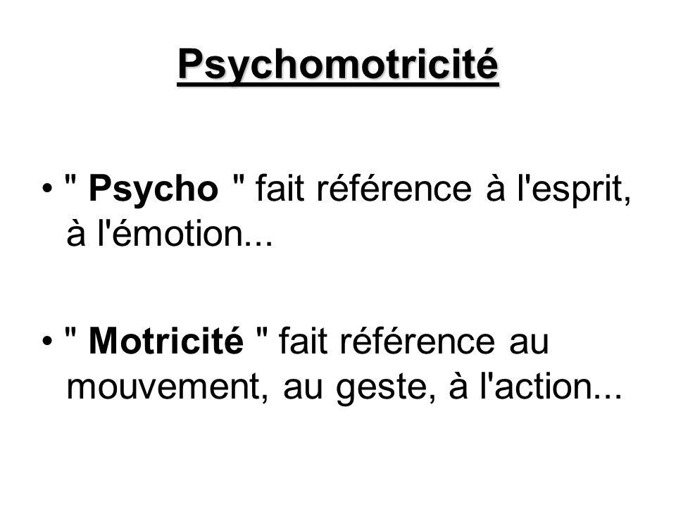 Psychomotricité • Psycho fait référence à l esprit, à l émotion...