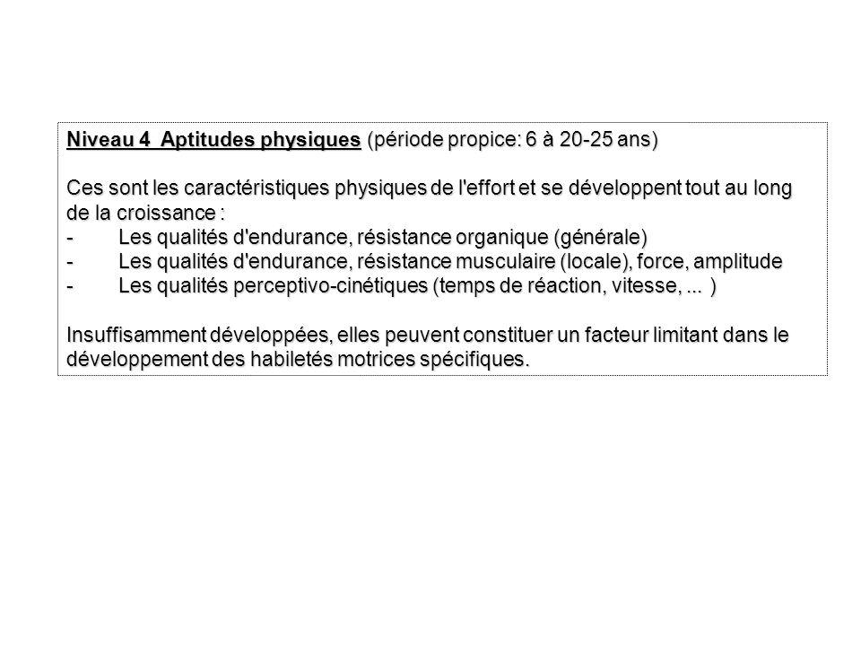Niveau 4 Aptitudes physiques (période propice: 6 à 20-25 ans)