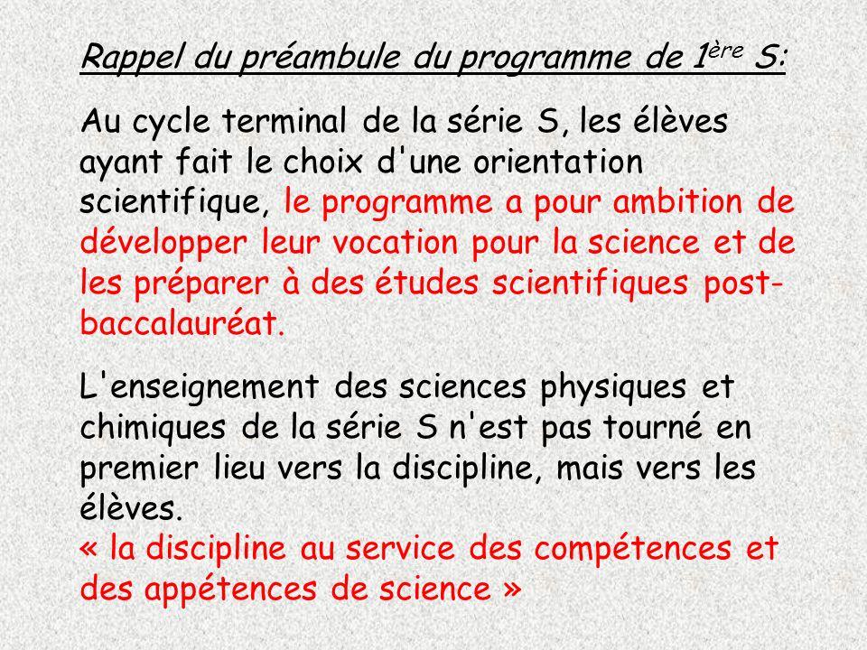 Rappel du préambule du programme de 1ère S: Au cycle terminal de la série S, les élèves ayant fait le choix d une orientation scientifique, le programme a pour ambition de développer leur vocation pour la science et de les préparer à des études scientifiques post-baccalauréat.