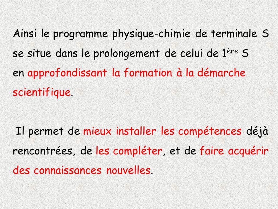 Ainsi le programme physique-chimie de terminale S se situe dans le prolongement de celui de 1ère S en approfondissant la formation à la démarche scientifique.