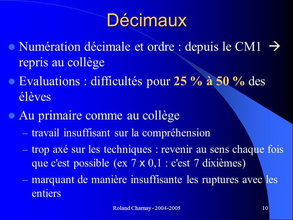 Décimaux Numération décimale et ordre : depuis le CM1  repris au collège. Evaluations : difficultés pour 25 % à 50 % des élèves.
