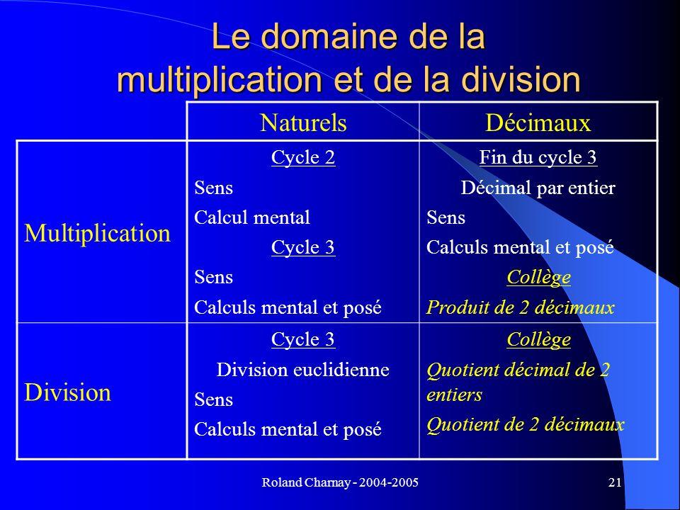 Le domaine de la multiplication et de la division