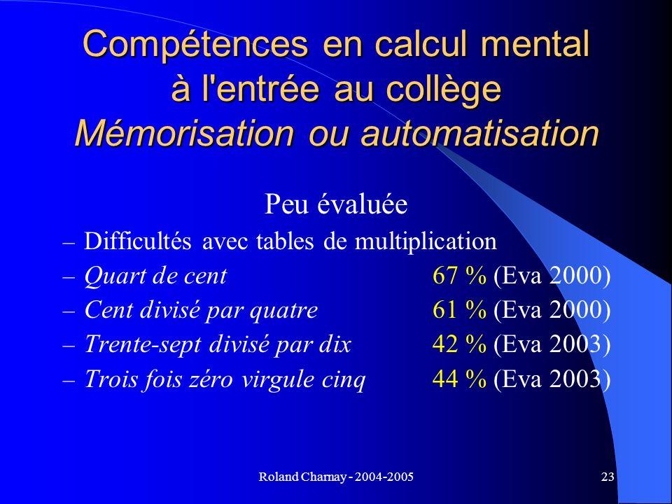 Compétences en calcul mental à l entrée au collège Mémorisation ou automatisation