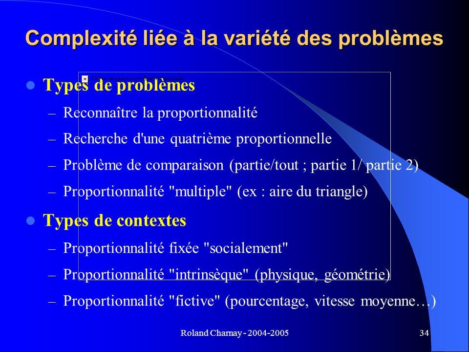 Complexité liée à la variété des problèmes