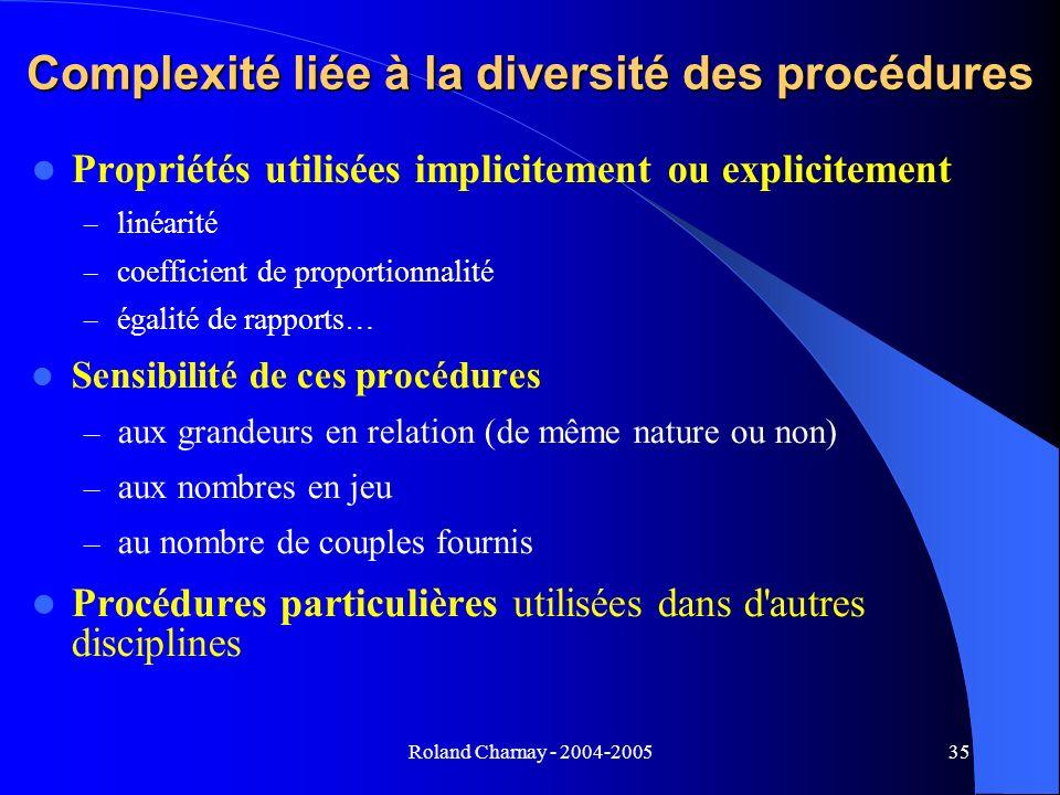 Complexité liée à la diversité des procédures
