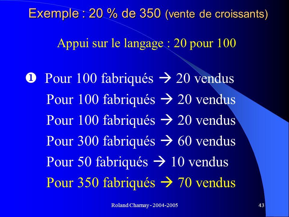Exemple : 20 % de 350 (vente de croissants)
