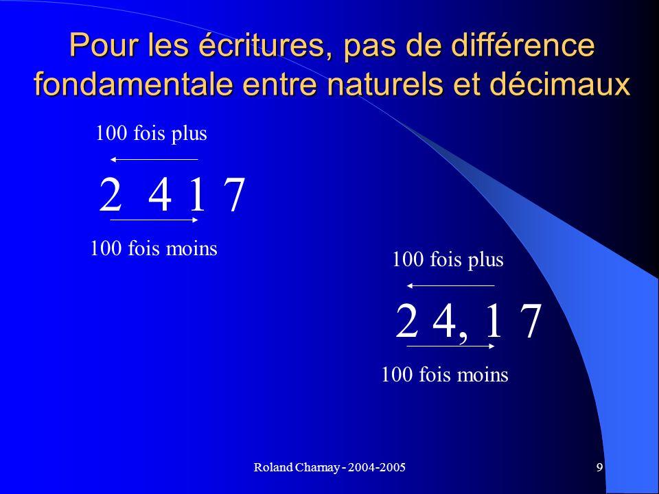 Pour les écritures, pas de différence fondamentale entre naturels et décimaux