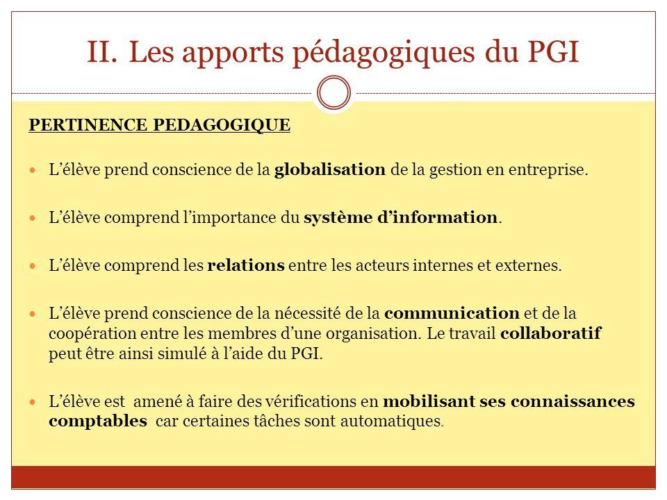Les apports pédagogiques du PGI