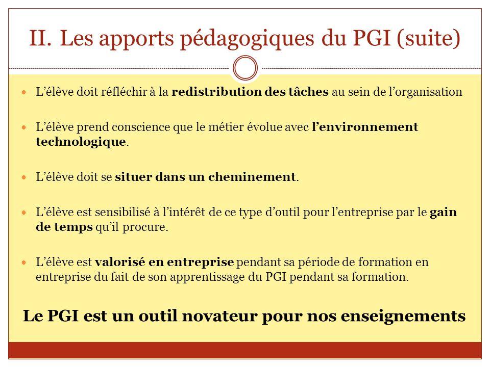 Les apports pédagogiques du PGI (suite)