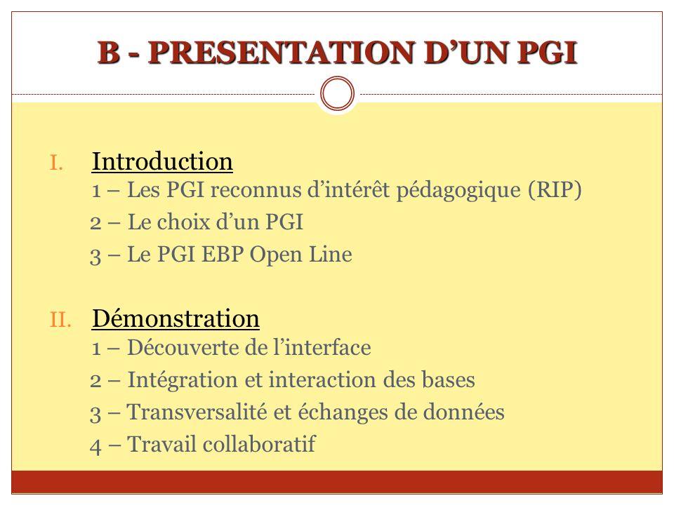 B - PRESENTATION D'UN PGI