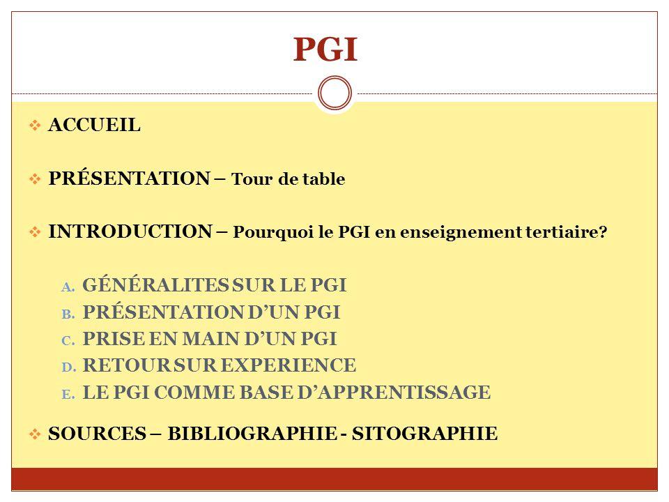 PGI ACCUEIL PRÉSENTATION – Tour de table