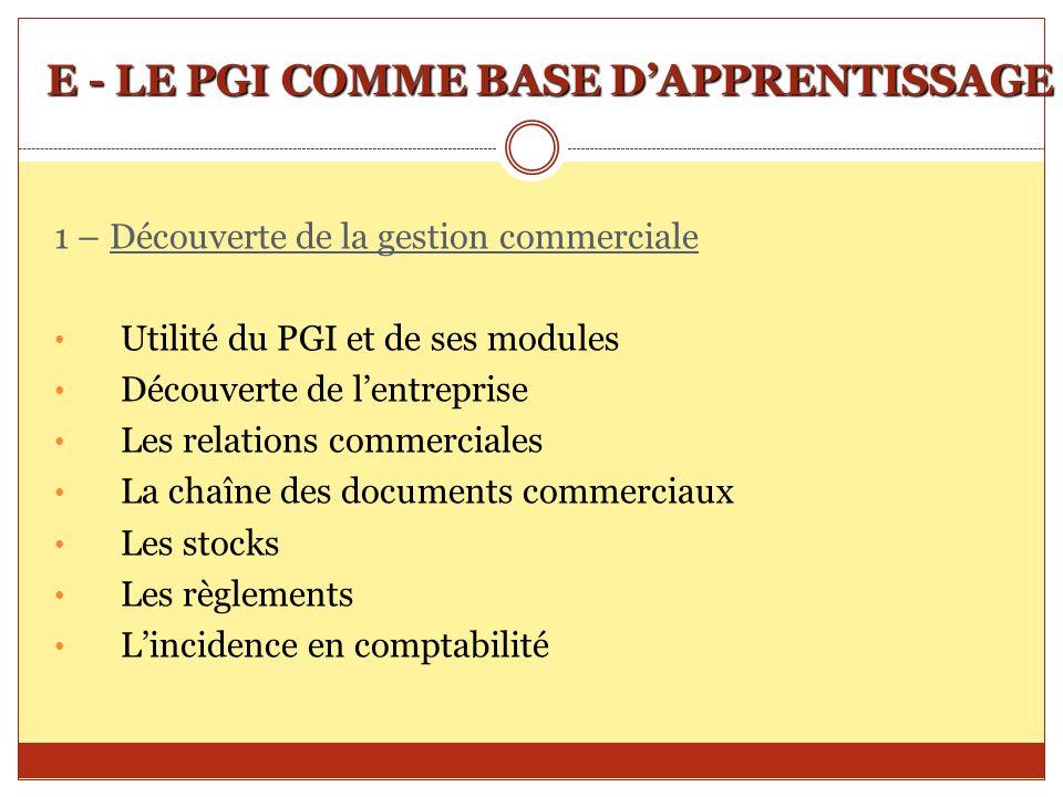 E - LE PGI COMME BASE D'APPRENTISSAGE