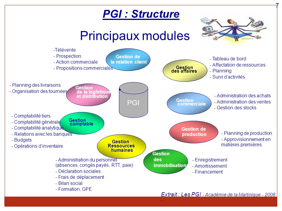 Principaux modules PGI : Structure PGI 7