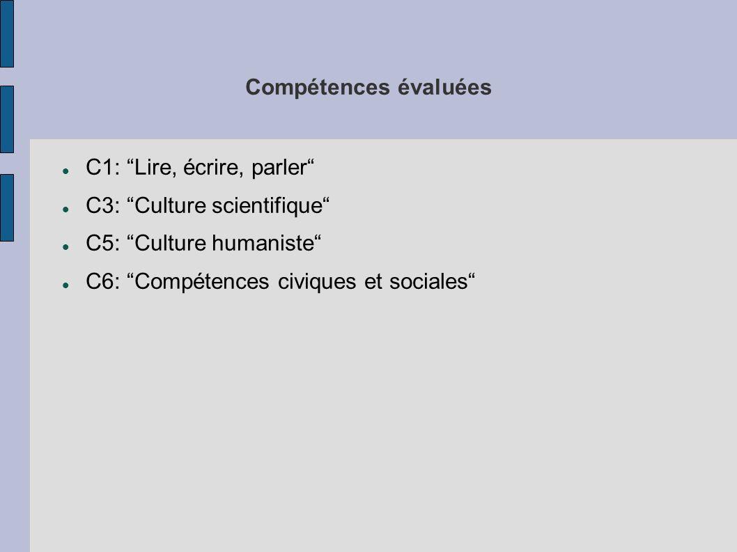 Compétences évaluées C1: Lire, écrire, parler C3: Culture scientifique C5: Culture humaniste