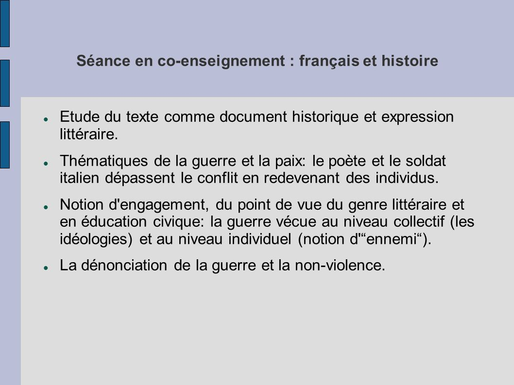 Séance en co-enseignement : français et histoire