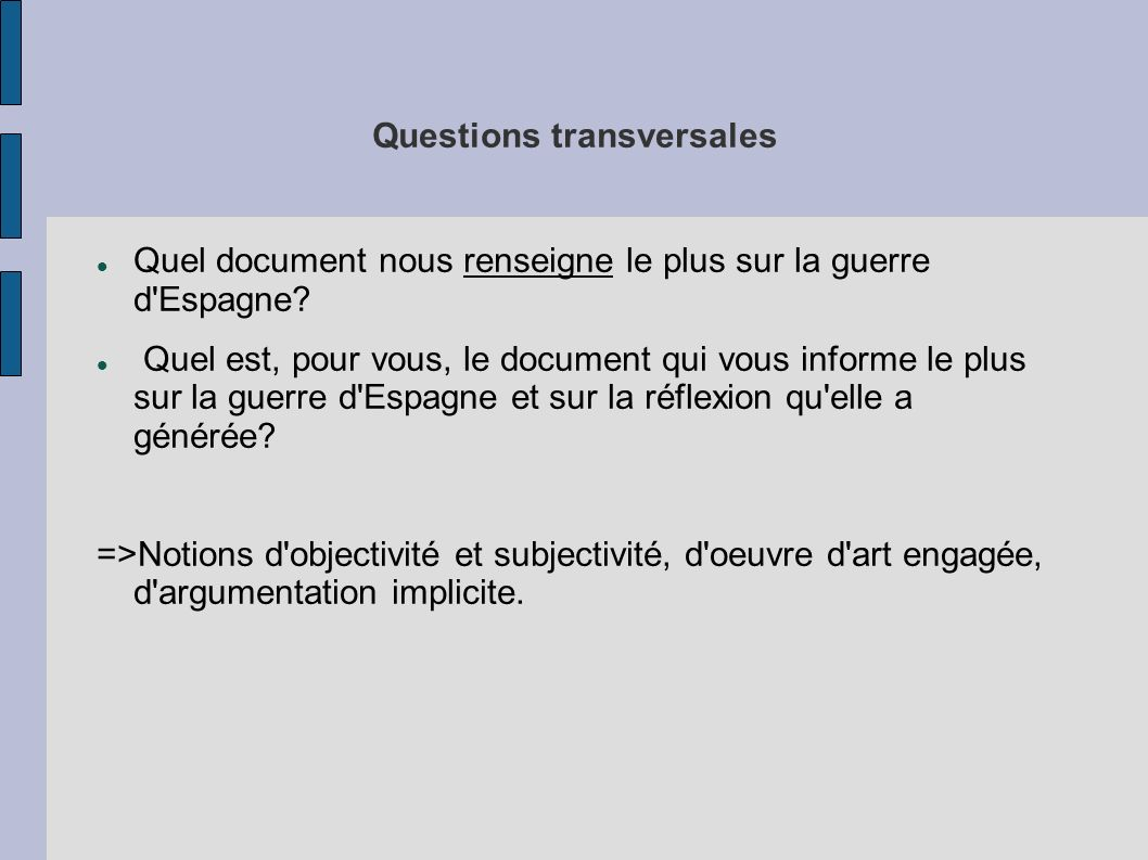 Questions transversales