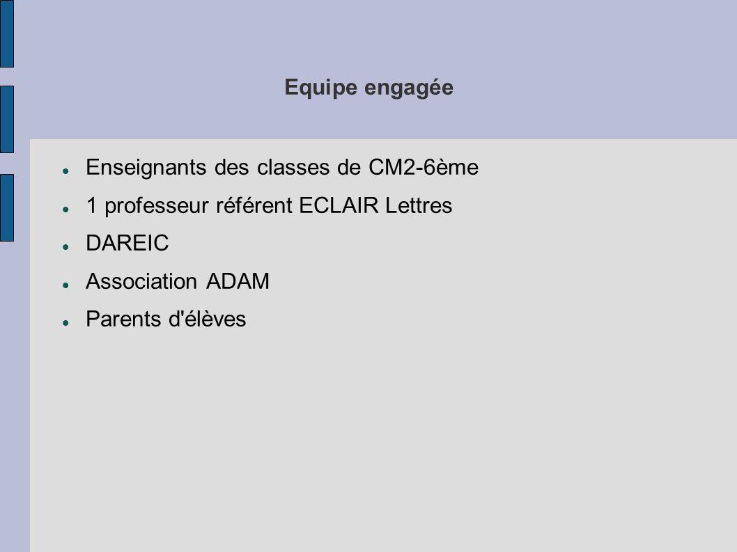 Equipe engagéeEnseignants des classes de CM2-6ème. 1 professeur référent ECLAIR Lettres. DAREIC. Association ADAM.