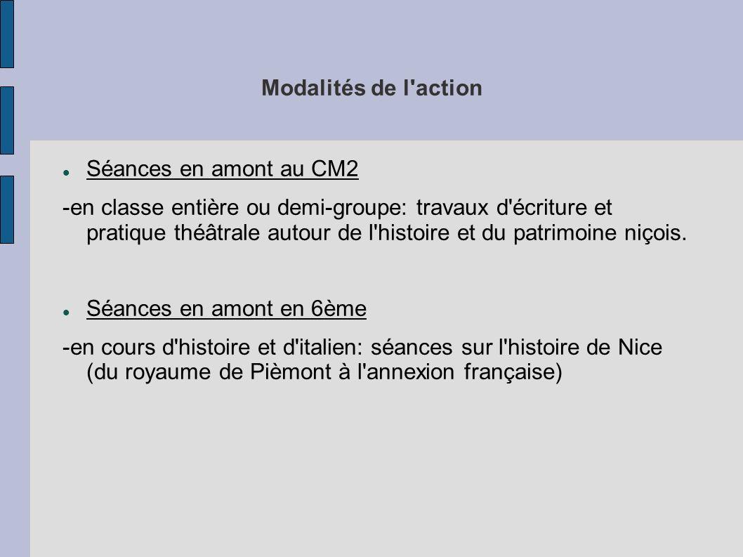Modalités de l action Séances en amont au CM2.