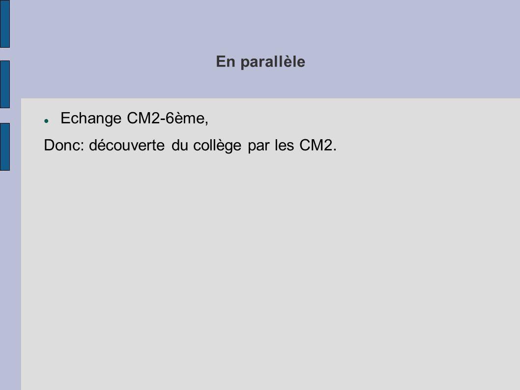 En parallèle Echange CM2-6ème, Donc: découverte du collège par les CM2.