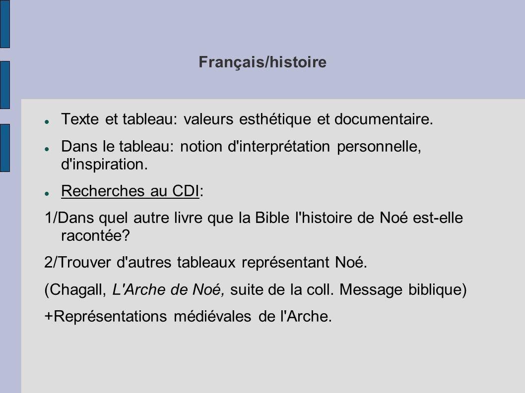Français/histoire Texte et tableau: valeurs esthétique et documentaire. Dans le tableau: notion d interprétation personnelle, d inspiration.