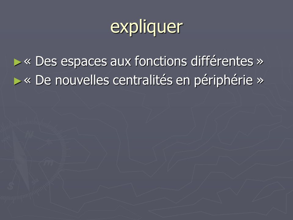 expliquer « Des espaces aux fonctions différentes »