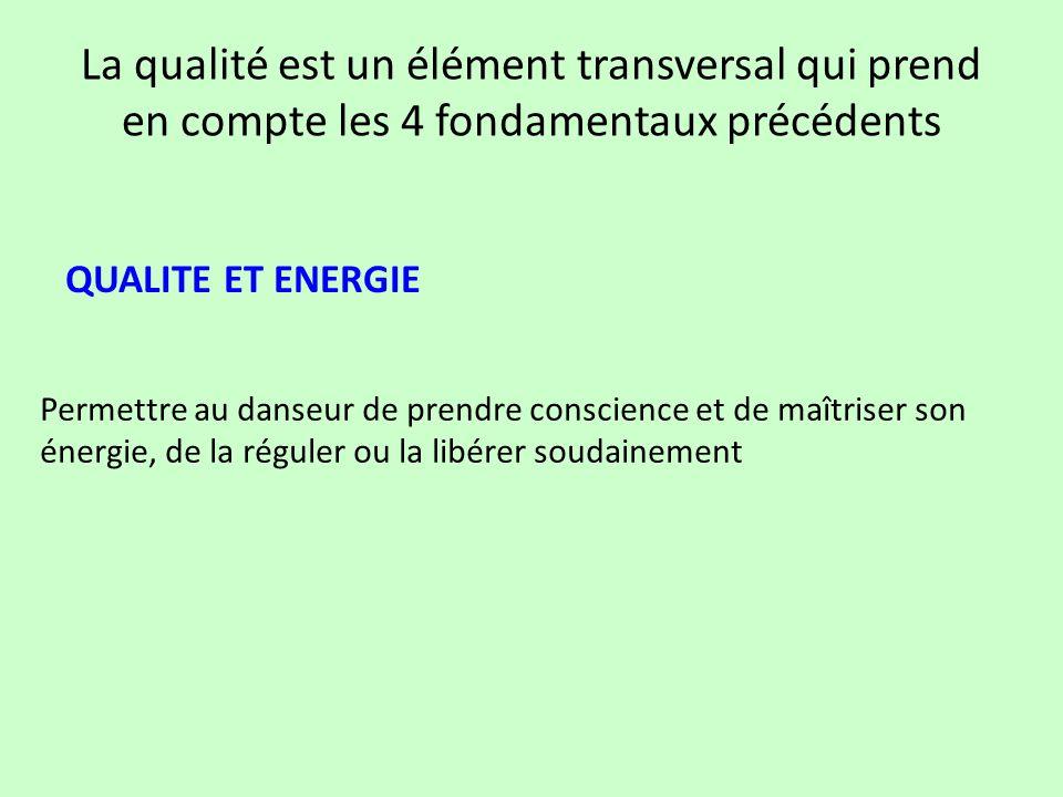 La qualité est un élément transversal qui prend en compte les 4 fondamentaux précédents