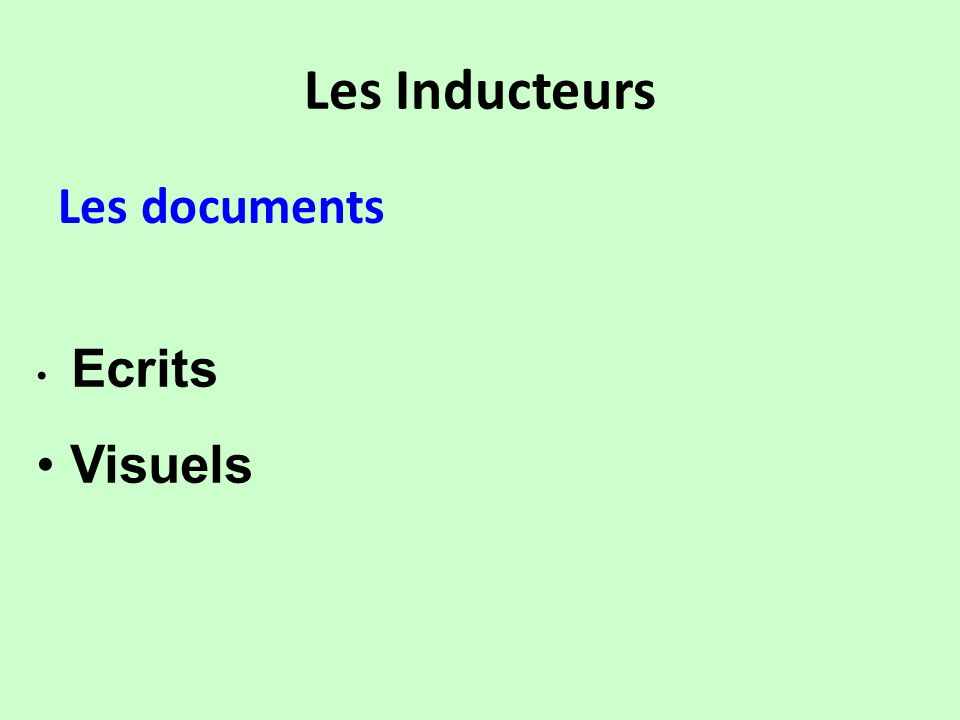 Les Inducteurs Les documents Visuels Ecrits