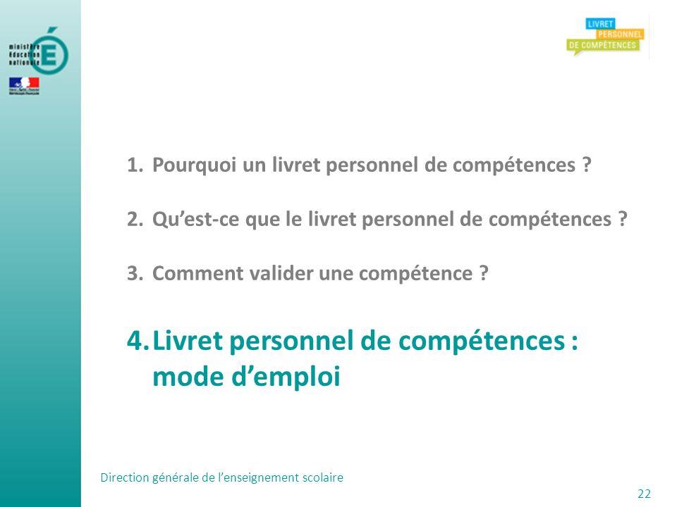 Livret personnel de compétences : mode d'emploi