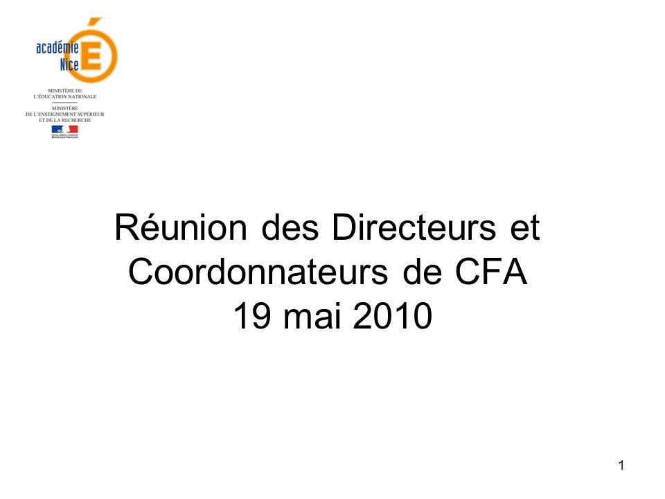 Réunion des Directeurs et Coordonnateurs de CFA 19 mai 2010