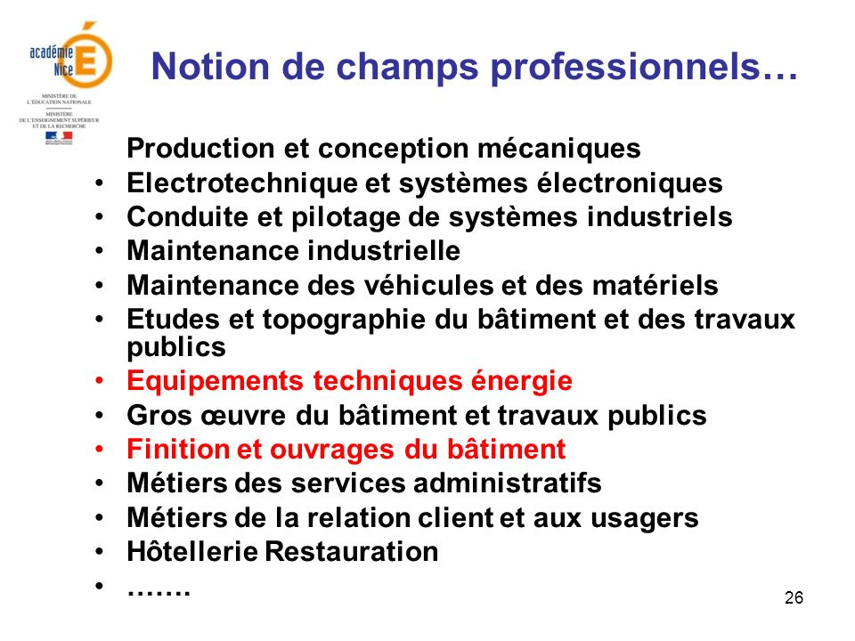 Notion de champs professionnels…