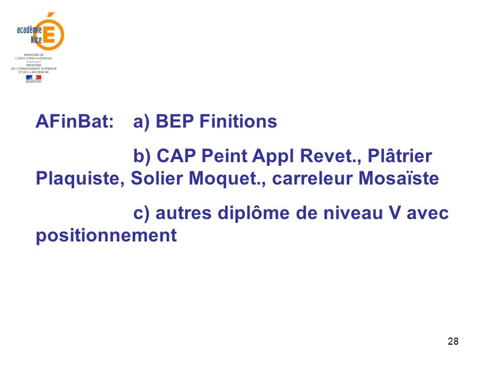 AFinBat: a) BEP Finitions