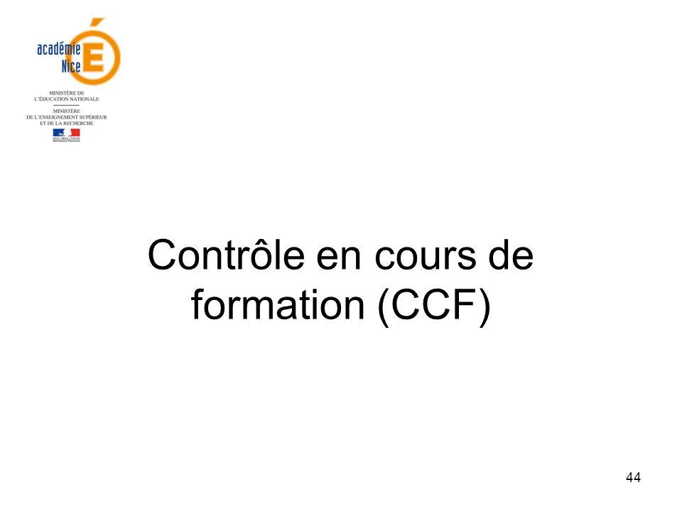 Contrôle en cours de formation (CCF)