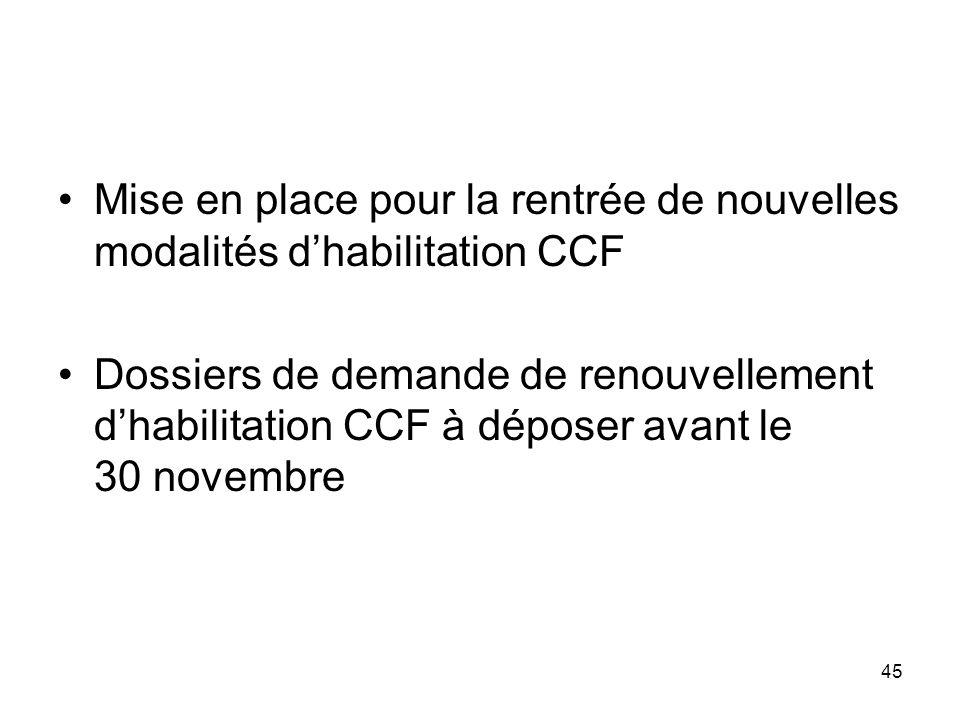 Mise en place pour la rentrée de nouvelles modalités d'habilitation CCF