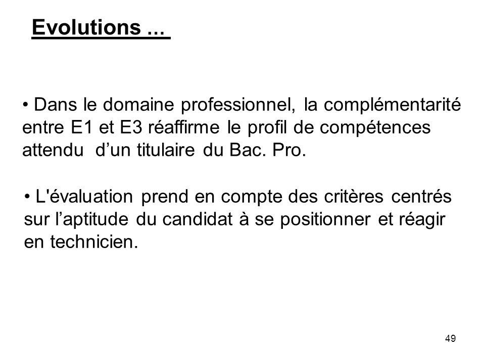 Evolutions …Dans le domaine professionnel, la complémentarité entre E1 et E3 réaffirme le profil de compétences attendu d'un titulaire du Bac. Pro.
