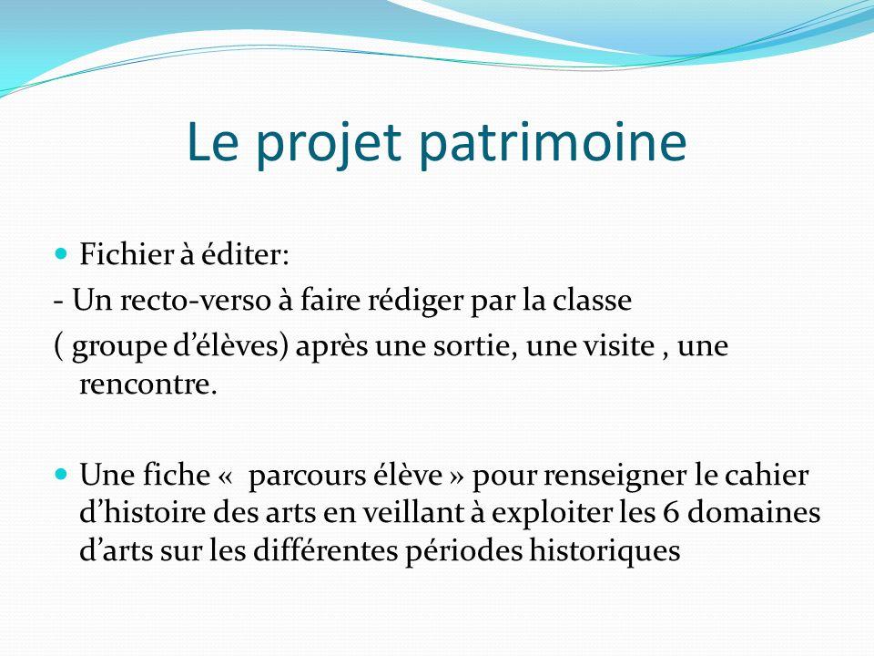 Le projet patrimoine Fichier à éditer: