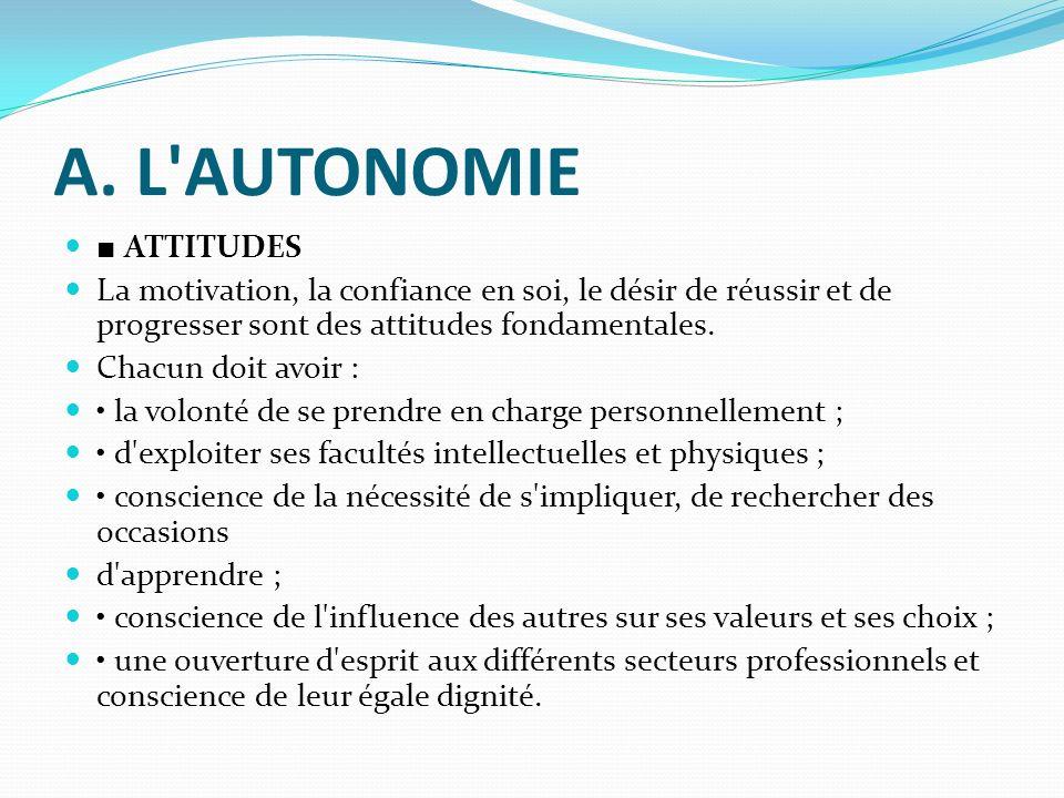 A. L AUTONOMIE ■ ATTITUDES