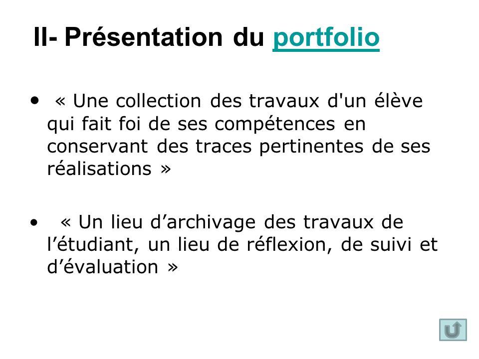 II- Présentation du portfolio