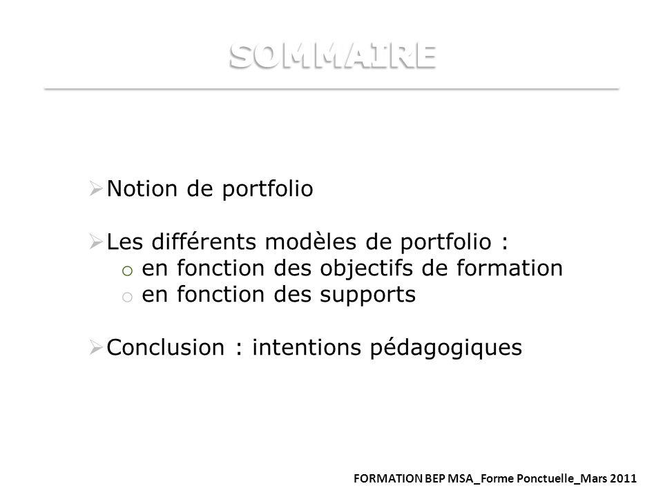 SOMMAIRE Notion de portfolio Les différents modèles de portfolio :