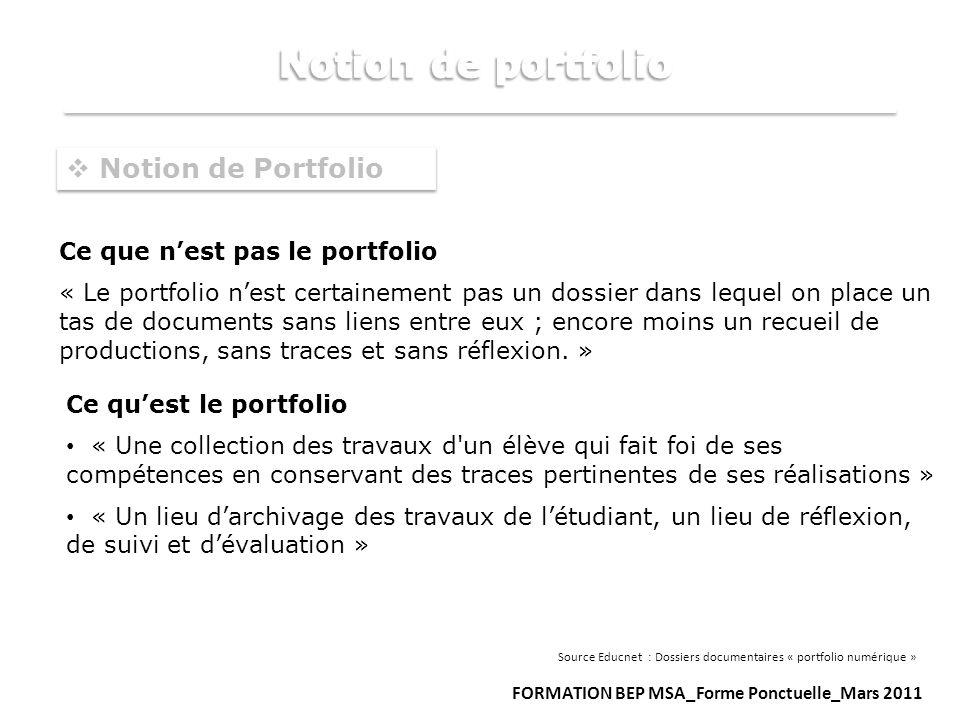 Notion de portfolio Notion de Portfolio Ce que n'est pas le portfolio