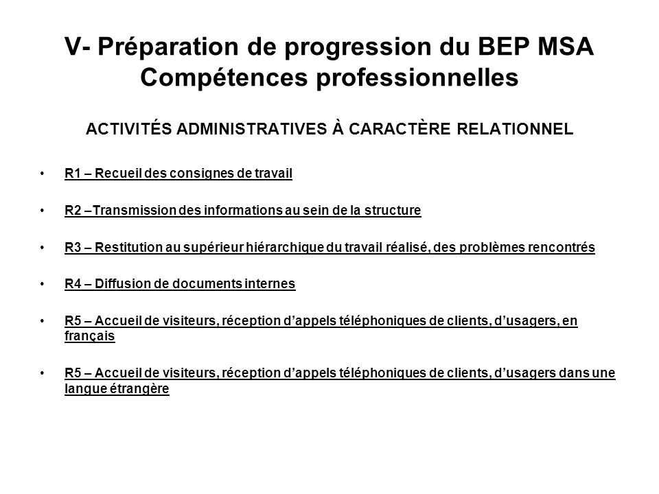 V- Préparation de progression du BEP MSA Compétences professionnelles
