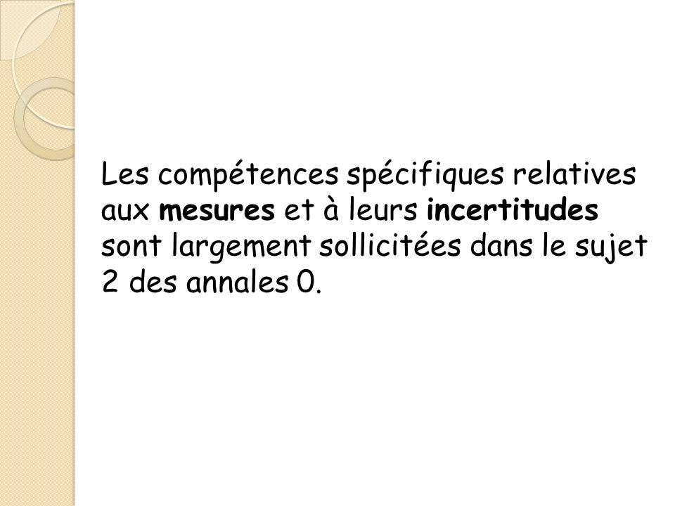 Les compétences spécifiques relatives aux mesures et à leurs incertitudes sont largement sollicitées dans le sujet 2 des annales 0.