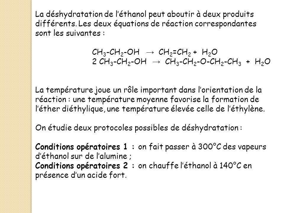 La déshydratation de l'éthanol peut aboutir à deux produits différents