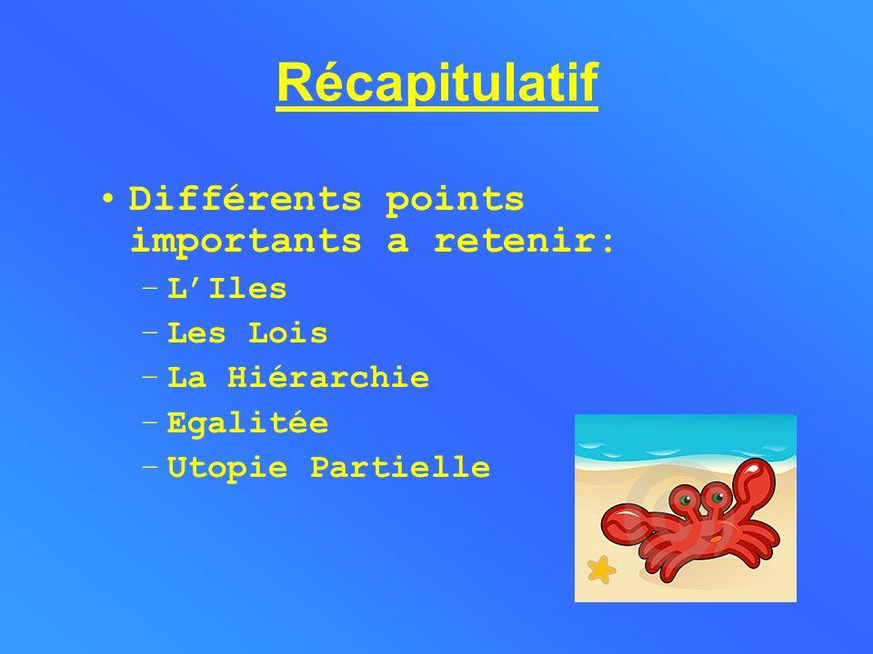 Récapitulatif Différents points importants a retenir: L'Iles Les Lois