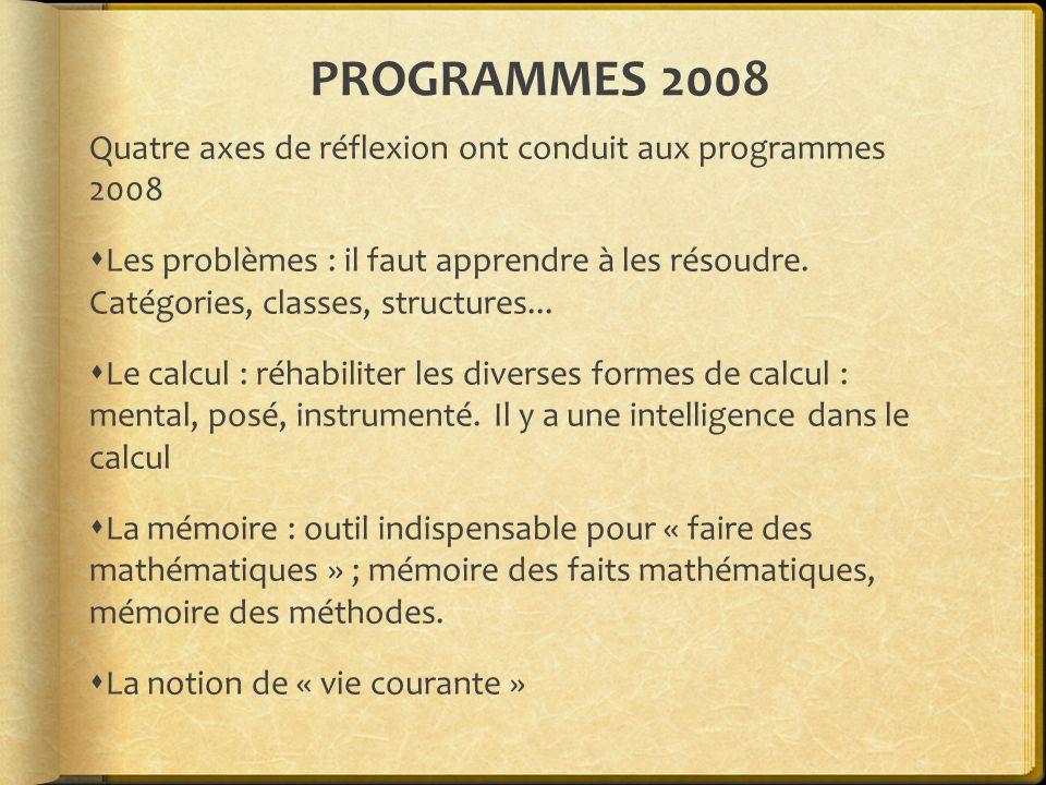 PROGRAMMES 2008 Quatre axes de réflexion ont conduit aux programmes 2008.