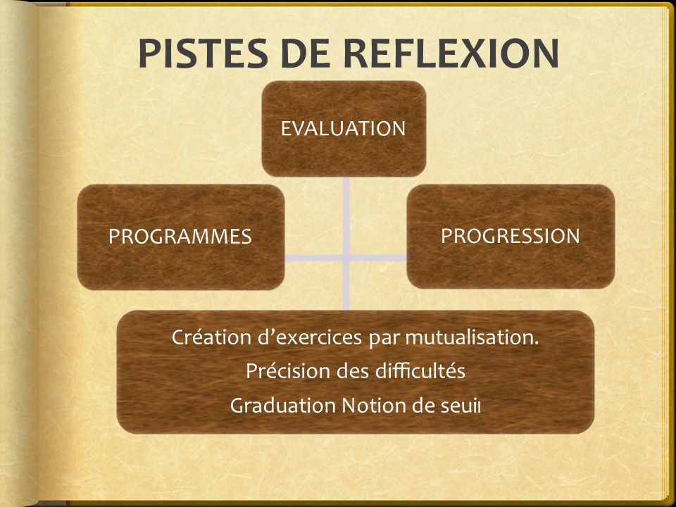 PISTES DE REFLEXION EVALUATION PROGRAMMES PROGRESSION